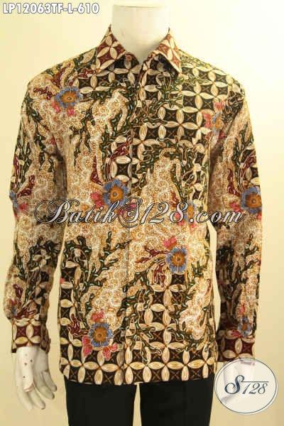 Jual Kemeja Batik Kerja Mewah Jenis Tulis Model Lengan Panjang Full Furing, Pakaian Batik Solo Terbaru Motif Elegan Klasik Pilihan Tepat Untuk Tampil Sempurna [LP12063TF-L]