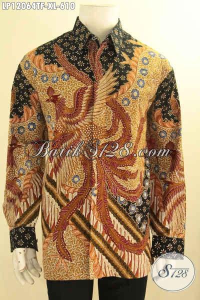Kemeja Batik Premium Solo Lengan Panjang Size XL, Busana Batik Mewah Full Furing Motif Terbaru Proses Tulis Asli, Penampilan Sempurna Dn Percaya Diri