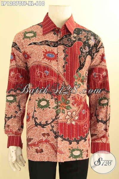 Busana Batik Pria Mewah Model Lengan Panjang, Kemeja Batik Tulis Istimewa Di Lengkapi Lapisa Furing, Pakaian Batik Desain Khas Eksekutif Tampil Gagah Berwibawa [LP12070TF-XL]