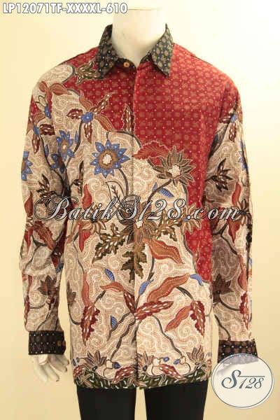 Kemeja Batik Mewah Spesial Untuk Pria Gemuk Sekali, Pakaian Batik Tulis Lengan Panjang Premium DAleman Full Furing, Cocok Untuk Kondangan Dan Acara Formal Tampil Berwibawa [LP12071TF-XXXXL]