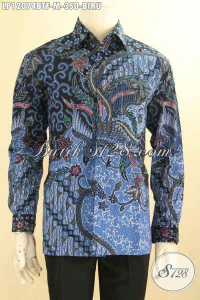 Kemeja Batik Elegan Warna Biru Pria Muda, Busana Batik Solo Istimewa Model Lengan Panjang Full Furing Yang Cocok Untuk Acara Resmi Tampil Berwibawa