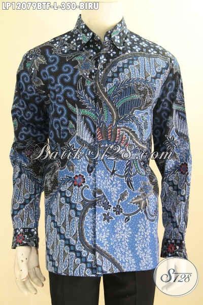 Kemeja Batik Solo Elegan, Busana Batik Mewah Halus Lengan Panjang Motif Klasik Warna Biru Jenis Kombinasi Tulis, Penampilan Lebih Gagah Berwibawa
