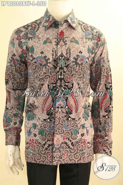 Kemeja Batik Solo Lengan Panjang Full Furing, Pakaian Batik Formal Desain Mewah Motif Bagus Jenis Kombinasi Tulis Hanya 350K
