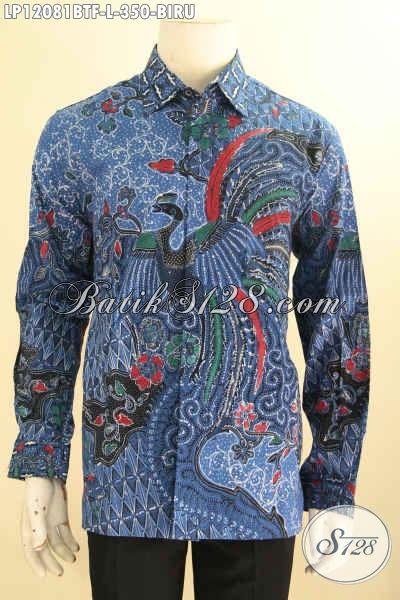 Sedia Kemeja Batik Solo Warna Biru Model Lengan Panjang, Pakaian Batik Nan Berkelas Motif Elegan Daleman Full Furing Jenis Kombinasi Tulis, Pilihan Tepat Tampil Gagah Dan Tampan Maksimal