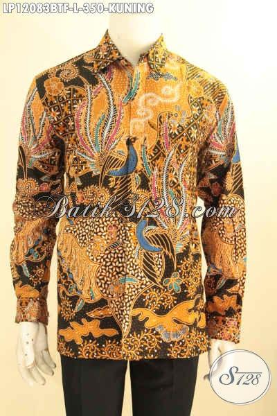 Baju Batik Pria Warna Kuning Lengan Panjang Full Furing Nan Berkelas Motif Terbaru Proses Kombinasi Tulis, Kemeja Batik Pria Muda Atau Dewasa Tampil Gagah Mempesona [LP12083BTF-L]