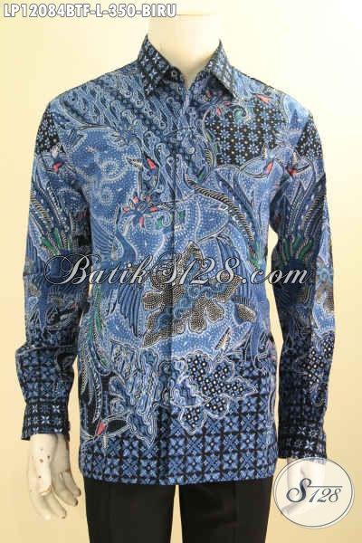 Kemeja Batik Pria Lengan Panjang Warna Biru Size L, Busana Batik Solo Halus Motif Elegan Daleman Full Furing Tampil Gagah Berkelas Hanya 350K
