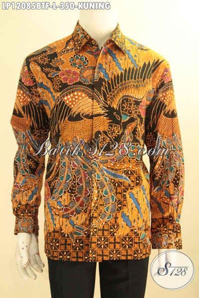 Jual Kemeja Batik Pria Warna Kuning Lengan Panjang, Pakaian Batik Solo Tren Masa Kini Bahan Halus Daleman Full Furing, Bisa Untuk Kondangan