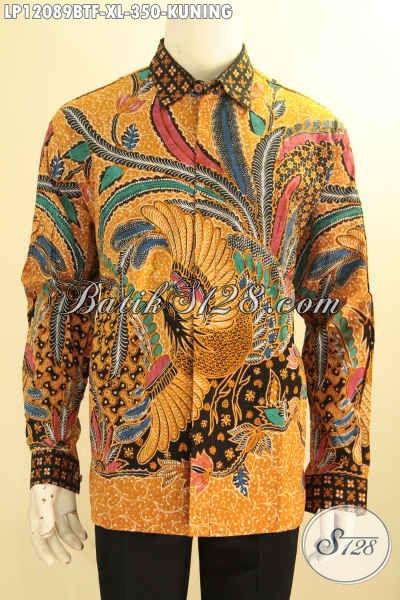 Batik Kemeja Pria Lengan Panjang Warna Kuning Desain Mewah, Baju Batik Solo Full Furing Nan Berkelas Jenis Kombinasi Tulis Harga 300 Ribuan Saja [LP12089BTF-XL]