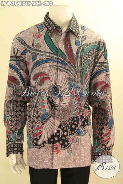 Baju Batik Spesial Lelaki Gemuk, Busana Batik Solo Istimewa Lengan Panjang Motif Elegan Kombinasi Tulis, Pas Untuk Acara Resmi Dan Kondangan Tampil Menawan [LP12091BTF-XXL]