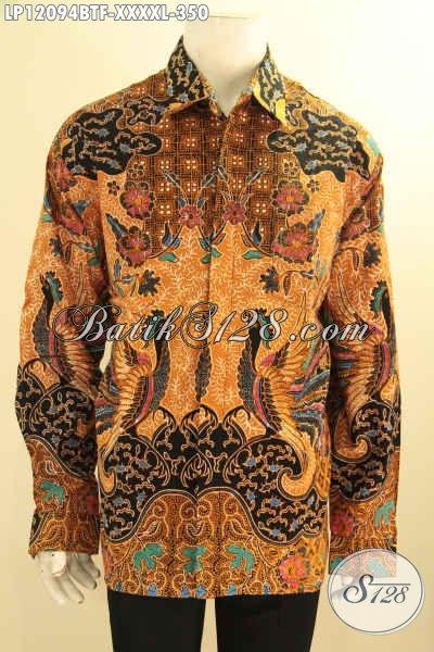 Baju Batik Jumbo Model Lengan Panjang, Kemeja Batik Pria Gemuk Sekali Full Furing, Baju Batik Istimewa Motif Bagus Jenis Kombinasi Tulis, Penampilan Lebih Mewah