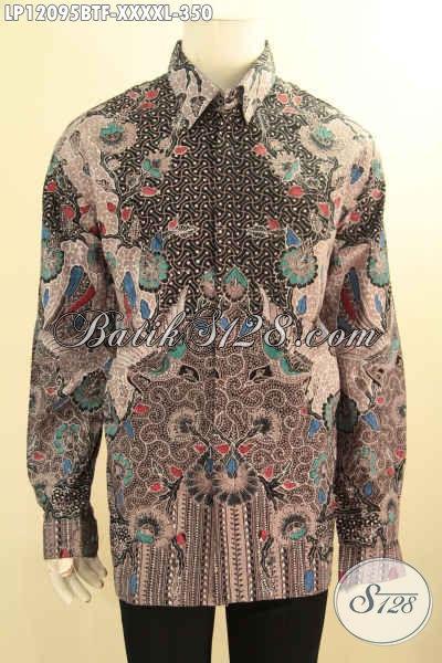 Produk Baju Batik Solo Istimewa, Kemeja Lengan Panjang Mewah Full Furing Motif Bagus Elegan Klasik Jenis Kombinasi Tulis Exclusive Untuk Pria Gemuk Sekali