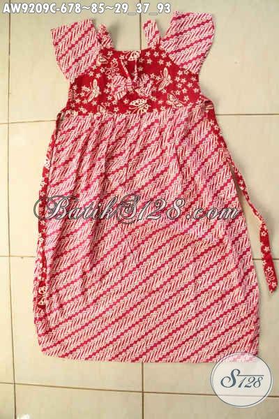 Batik Anak Perempuan Motif Parang Warna Merah Kombinasi Putih Desain