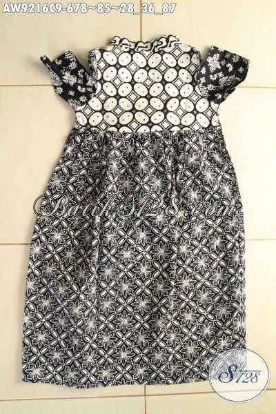 Baju Batik Anak Cewek Model Baru, Busana Batik Modern Desain Cantik Motif Bagus Warna Hitam Putih Jenis Cap [AW9216C-Umur 6,7,8 Tahun]
