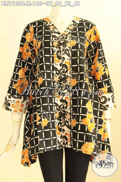 Baju Batik Solo Wanita Muda Masa Kini, Blouse Batik Modis Desain Trendy Bahan Halus Motif Bagus Jenis Cap, Cocok Untuk Kerja Dan Jalan-Jalan