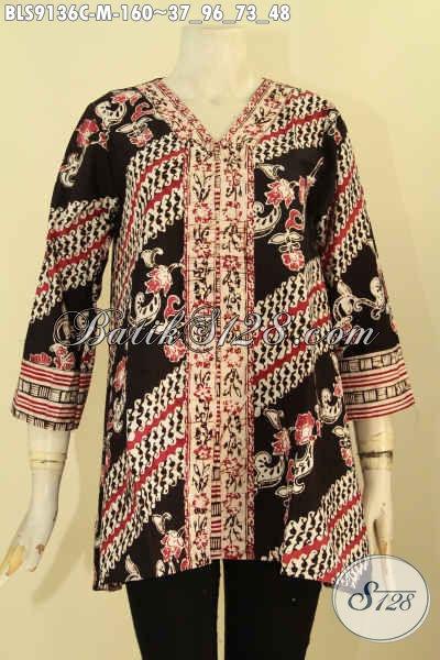 Batik Blouse Solo Motif Elegan Desain Trendy Untuk Seragam Kerja Wanita Kantoran, Pakaian Batik Modis Terbaru Cocok Juga Untuk Ibu Rumah Tangga