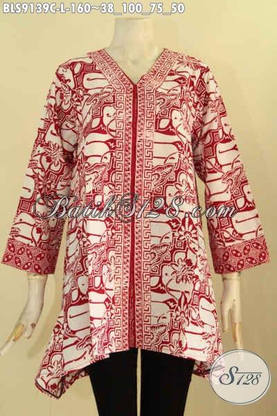 Blouse Batik Trendy Paduan Warna Merah Dan Putih Desain Keren Motif Terkini Proses Cap, Cocok Banget Untuk Acara Santai Dan Resmi