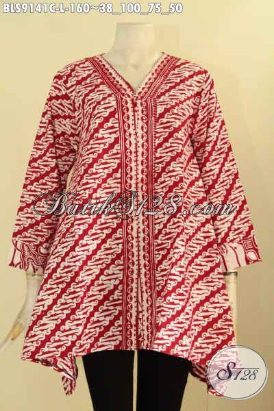 Sedia Batik Blouse Merah Motif Parang Desain Elegan, Pakaian Batik Solo Model Kekinian Yang Cocok Untuk Acara Resmi  Dan Seragam Kerja Kantoran Tampil Modis
