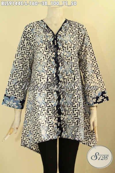 Pakaian Batik Wanita Modern, Baju Batik Blouse Buatan Solo Asli Desain Berkelas Berpadu Motif Trendy Proses Cap Hanya 160K