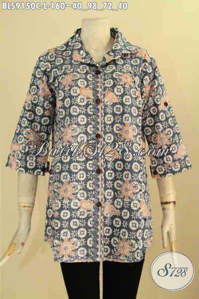 Toko Busana Batik Online Terlengkap, Sedia Blouse Batik Berkerah Desain Elegan Motif Bagus Bahan Halus Nyaman Di Pakai Kerja Atau Acara Formal [BLS9150C-L]