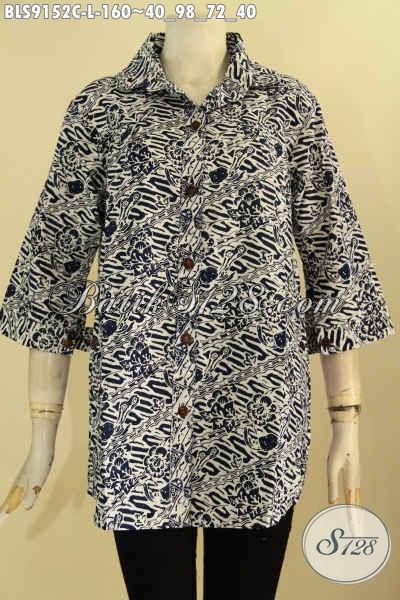 Baju Batik Wanita Untuk Tampil Cantik Dan Berkelas, Baju Batik Atasan Desain Blouse Berkerah Motif Elegan Proses Cap Hanya 100 Ribuan Saja [BLS9152C-L]