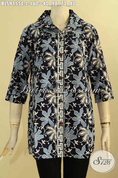 Jual Busana Batik Wanita Masa Kini, Pakaian Batik Blouse Berkerah Kwalitas Istimewa Motif Trendy Proses Cap, Bisa Untuk Santai Maupun Resmi  Tampil Gaya [BLS9155C-L]