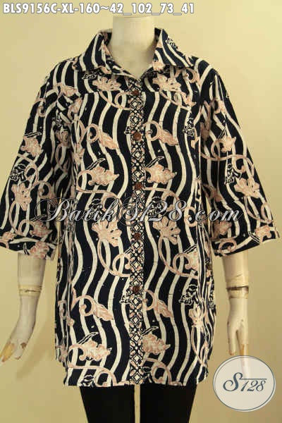 Baju Batik Wanita Dewasa Kwalitas Istimewa, Blouse Batik Solo Elegan Desain Berkerah Motif Terkini Jenis Cap, Bikin Penampilan Cantik Menawan [BLS9156C-XL]