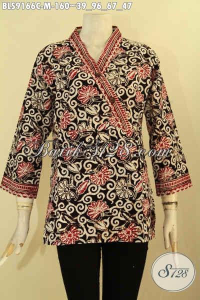 Model Baju Batik Wanita Terbaru, Pakaian Batik Modis Desain Kekinian Motif Terbaru Proses Cap, Bisa Untuk Kerja Maupun Acara Resmi Tampil Beda [BLS9166C-M]