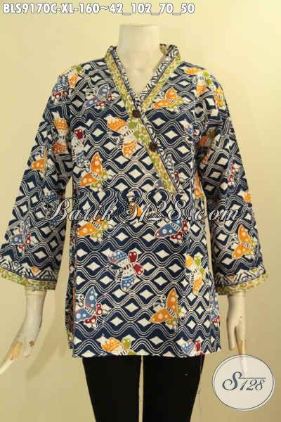 Baju Batik Wanita Dewasa Motif Trendy Dan Unik, Blouose Batik Modis Bahan Halus Kwalitas Istimewa Hadir Dengan Harga Terjangkau [BLS9170C-XL]