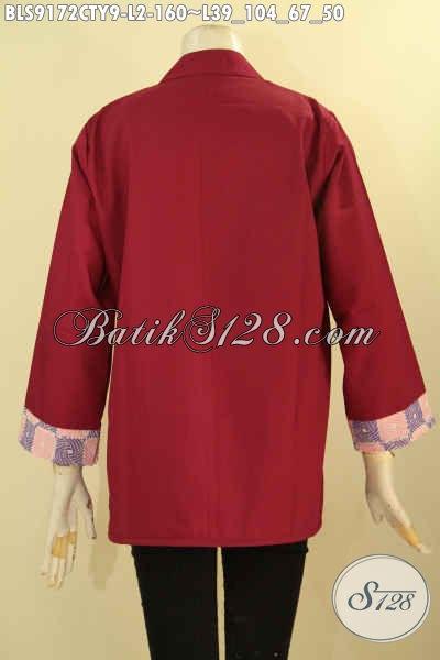 Baju Batik Wanita Kombinasi Kain Polos Toyobo Warna Merah Marun Desain Kekinian Kwalitas Istimewa, Cocok Untuk Acara Santai Maupun Resmi [BLS9172CTY-L]