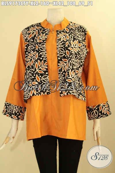 Jual Baju Blouse Wanita Kerja Dan Ibu Rumah Tangga Model Terbaru, Pakaian Trendy Kombinasi Batik Dan Kain Polos Toyobo Kwalitas Bagus Yang Bikin Penampilan Cantik Dan Modis [BLS9173CTY-XL]