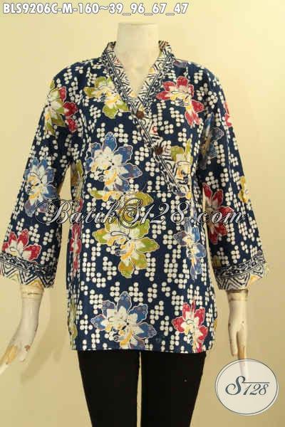 Model Pakaian Batik Kerja Wanita Muda Nan Trendy, Blouse Batik Istimewa Kwalitas Bagus Bahan Adem Yang Nyaman Di Pakai [BLS9206C-M]