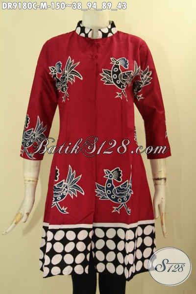 Dress Batik Warna Merah Berpadu Motif Unik Dan Trendy Proses Cap, Baju Batik Wanita Muda Yang Ingin Tampil Cantik Bergaya Hanya 100 Ribuan Saja [DR9180C-M]