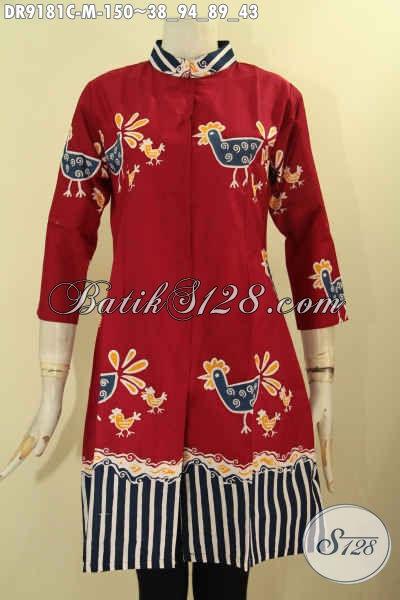Dress Batik Untuk Acara Santai Maupun Resmi, Pakaian Batik Solo Asli Bahan Halus Motif Unik Proses Cap Desain Kekinian, Wanita Tampil Terlihat Anggun [DR9181C-M]