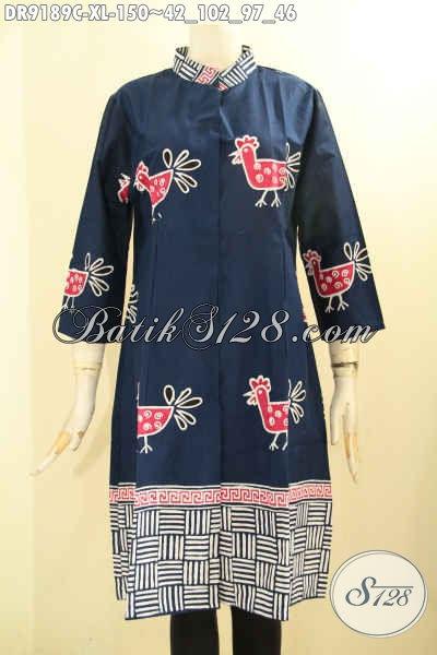 Dress Batik Elegan Desain Trendy Motif Bagus Kwalitas Istimewa, Cocok Untuk Wanita Karir Maupun Ibu Rumah Tangga, Tampil Gaya Dengan Harga Murmer [DR9189C-XL]