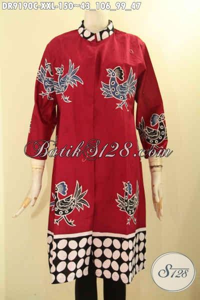 Model Terkini Batik Dress Khas Solo, Hadir Dengan Warna Merah Nan Mewah Berpadu Motif Trendy Jenis Cap, SpesialUntuk Wanita Gemuk Tampil Anggun [DR9190C-XXL]
