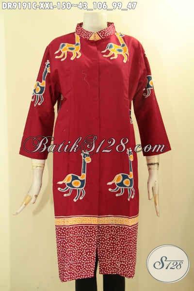 Jual Online Busana Batik Dress Wanita Gemuk Tren Masa Kini, Baju Batik Istimewa Berbahan Halus Motif Trendy Proses Cap, Pas Banget Untuk Acara Resmi Maupun Pesta [DR9191C-XXL]