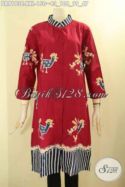 Koleksi Terkini Baju Batik Dress Solo Ukuran Jumbo Spesial Untuk Wanita Gemuk, Pakaian Batik Kekinian Desain Mewah Dengan Harga Murah Meriah [DR9193C-XXL]