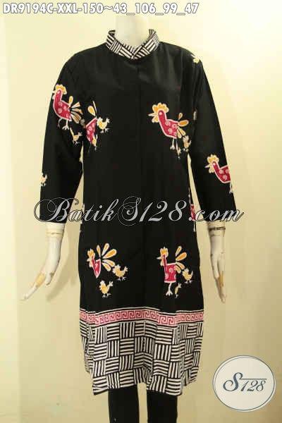 Sedia Batik Dress Istimewa Buatan Solo Asli, Dress Batik Modern Warna Elegan Berpadu Motif Unik Jenis Cap, Bisa Untuk Kerja Dan Kondangan [DR9194C-XXL]