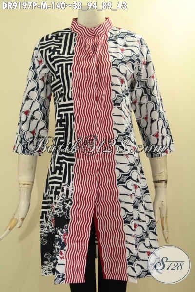 Dress Batik Wanita Muda Desain Elegan Berkelas, Baju Batik Wanita Masa Kini Motif Kombinasi Proses Printing, Tampil Istimewa Di Setiap Momen [DR9197P-M]