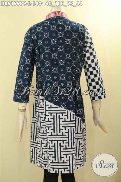 Baju Batik Solo Halus Model Terkini, Dress Batik Istimewa Dengan Kombinasi Motif Dan Warna Elegan Berkelas, Menunjang Penampilan Wanita Lebih Sempurna [DR9199P-L]