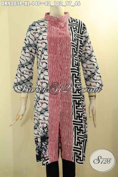 Dress Batik Wanita Dewasa Size XL Motif Kombinasi, Busana Batik Istimewa Yang Menunjang Penampilan Lebih Sempurna [DR9203P-XL]