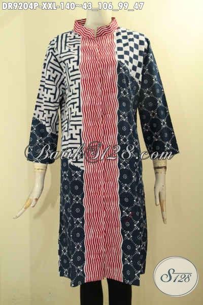 Pakaian Batik Wanita Gemuk Desain Mewah Dengan Paduan Warna Dan Motif Berkelas Proses Printing, Tampil Modis Dan Trendy [DR9204P-XXL]