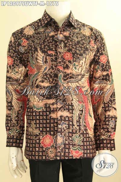 Kemeja Batik Tulis Sutra Mewah Khas Solo, Busana Batik Pria Muda Sukses Model Lengan Panjang Motif Elegan, Pas Banget Untuk Acara Resmi [LP12097SUWTF-M]