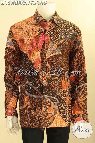 Olshop Busana Batik Paling Lengkap Dan Up To Date, Sedia Kemeja Batik Tulis Sutra Premium Lengan Panjang Full Furing Untuk Acara Resmi Berkelas [LP12103SUWTF-XL]