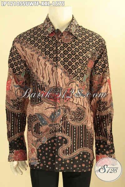 Produk Pakaian Batik Mewah Spesial Buat Pria Gemuk, Kemeja Batik Lengan Panjang Tulis Sutra Premium Full Furing Motif Terkini, Tampil Makin Gagah Menawan [LP12105SUWTF-XXL]