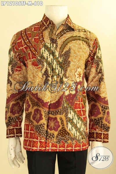 Kemeja Batik Pria Mewah Motif Elegan Jenis Tulis, Baju Batik Premium Pria Muda Lengan Panjang Full Furing, Cocok Untuk Kondangan Dan Rapat [LP12106TF-M]