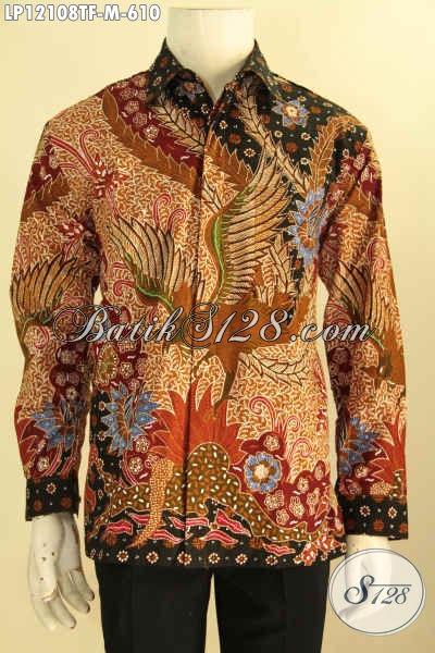 Jual Online Kemeja Batik Premium Solo Lengan Panjang Full Furing, Baju Batik Tulis Meewah Untuk Pria Muda Tampil Gagah Dan Percaya Diri [LP12108TF-M]