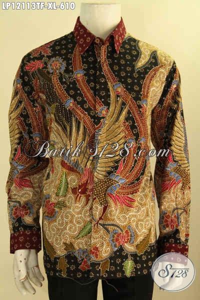 Jual Kemeja Batik Mewah Lengan Panjang Jawa Tengah Spesial Lelaki Dewasa, Pakaian Batik Tulis Halus Motif Elegan Daleman Full Furing, Pilihan Terbaik Untuk Tampil Sempurna [LP12113TF-XL]