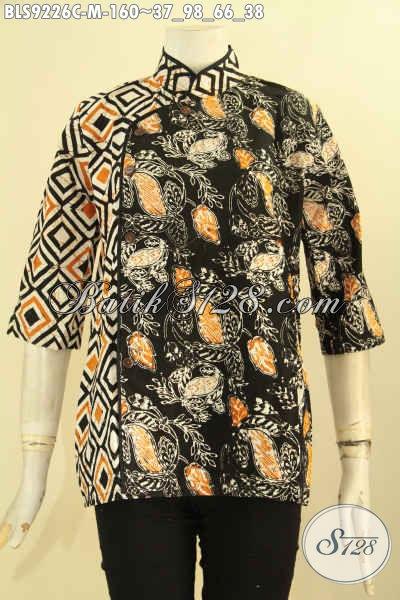 Batik Blouse Wanita Muda Desain Terbaru Dengan Kerah Shanghai Lengan 3/4 Motif Kekinian, Baju Batik Kerja Kombinasi Plesir Polos Pakai Kancing Depan Hanya 100 Ribuan [BLS9226C-M]