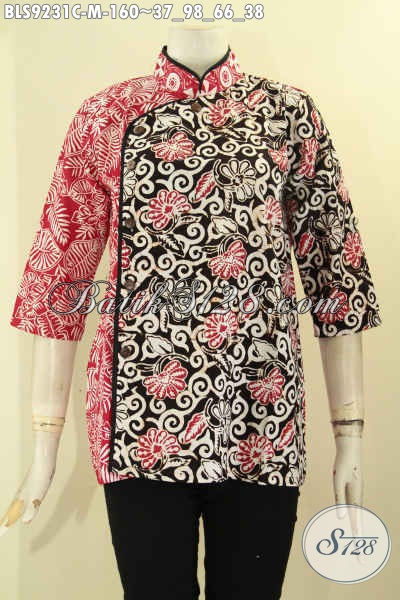 Batik Blouse Wanita Untuk Seragam Kerja Dan Acara Resmi Tampil Cantik Menawan, Hadir Dengan Model Kerah Shanghai Kombinasi Plesir Polos Lengan 3/4 Kancing Depan [BLS9231C-M]